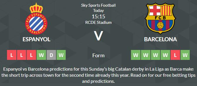 Espanyol - Barcelona Prediction Betting Tips
