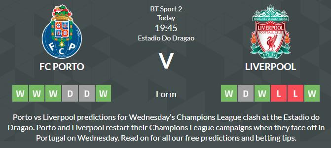 Porto vs Liverpool Prediction Betting Tips